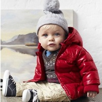 new winter baby thick cotton coat red color boy down jacket winter warm kid clothes