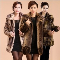 Top Quality ! 2013 New Fashion Autumn-Winter Women Mink Fur Coat Faux Fur Jacket Plus Size M,L,XL,XXL,XXXL