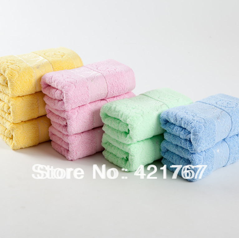 Free Shipping!Orginal Brand New 100% Cotton towels Face towels , blue,pink,green , yellow ,33*73cm, 3 pieces / lot H6678(China (Mainland))