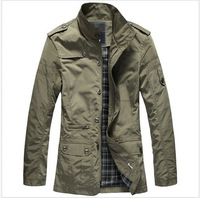 Hot! wholesale price 2014 New Men's Slim Trench Coat Jacket Overcoat Outerwear Spring Autumn 3 Color N102