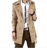 Hot! wholesale price 2014 Mens FASHION CASUAL DOUBLE BREASTED TRENCH SLIM FIT Overcoat Long Jacket Coat   Black  Khakim N104