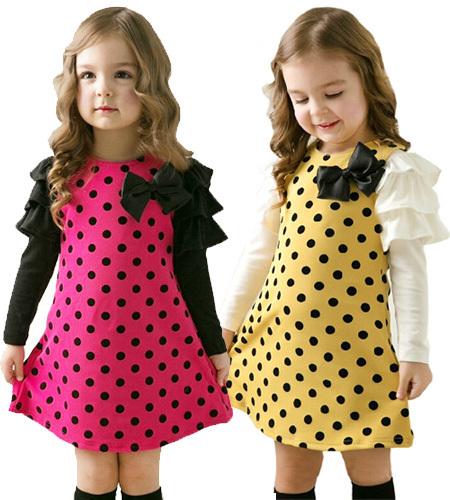 Free shipping 2014 new autumn spring children clothing girls polka dot dress long-sleeve baby kids clothes girls princess dress(China (Mainland))
