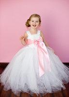 6 Color Ribbon Bow 2Y-8Y  White Flower Girl Tutu Dress For Birthday/Photo/Wedding/Party/Festival