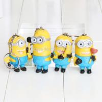 4pcs/set  Despicable Me 6cm Minion 4 figures keychain doll gift retail