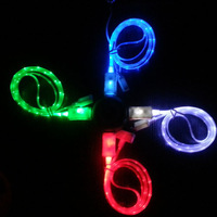 for samsung S4 rainbow light data cable USB charging cable with LED lights for iphone4s usb cable for Samsung I9500