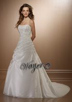 HL-WD3310 Beautiful Scoop Corset Embroidery Lace Appliques Beaded A-line Taffeta Wedding Gowns with Shawl 2014 Custom Made