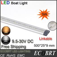 2014 new free shipping 2pcs/lot 500mm long 9.5-30v battery marine boat light strip led tube lights linkable for wine cabine bar