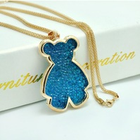 Free shipping 2013 Christmas gifts fashion Accessories High quality rhinestone alloy snake chain Blue Bear pendant necklace