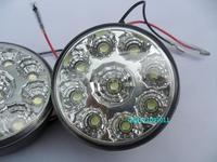 Free shipping Super Bright 9 LED car Lights white DC12v DRL LED Daytime Running Lights Fog Light Lamp