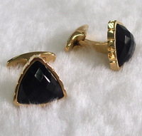 Wholesale azmazing fashion jewelry stainless steel 18k gold plated women cufflinks with black agate,high quality