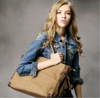 BAZ33 Vintage Washed Canvas Leather Shoulder shopper handbag work school traval book laptop notebook bag women girl boy men
