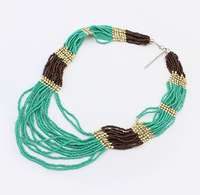 Min.order is $20 (mix order) European and American fashion Bohemian multilayer bead collar choker  necklace cxt99475