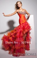 High Low New Sexy Mermaid Orange Long Prom Dresses Gowns Pageant 2014 vestidos De Fiesta Strapless Rhinestones Crystal Pleats