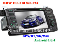Car DVD Player for BMW E46 318 320 325 With GPS Navigator Android 4.0 Car PC WiFi 3G Radio Cortex-A10 Free 4GB Map Card