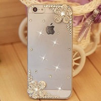 Handmade leaves and flowers PC Rhinestone crystal mobile phone case cover for iphone 5 5s iphone 4 4s protective shell case