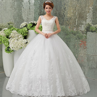 fashion sexy Wedding Dresses V-neck slit neckline sweet princess lace Wedding Dress 2015 double-shoulder weddings vestidos