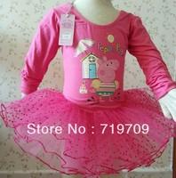Retail Free Shipping Baby Girls Peppa Pig Long Sleeve Leotard Ballet TUTU Dress Dot Lace Tutu Dance Costume Dress HY-6339