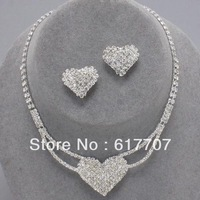 New Arrival Free Shipping Silver Heart CZ Rhinestone Crystal Bridal Wedding Jewelry Sets including Necklace and Earrings