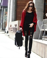 2013 new autumn pullover  Long Batwing Sleeve Solid Loose Cotton poncho colorful long Women Sweaters