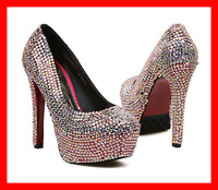 Free shipping 2013 new colour crystal sexy rhinestone high heels platform women pumps red bottom wedding shoes bridal brand