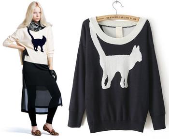 Бесплатная доставка Новый 2014 Pattern Мода Cat Свитера Женщины Cute Love Animal трикотажные с длинным рукавом пуловер Черный Белый YM6818901