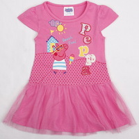 Retail New 2014 Peppa Pig girl dress, girl summer clothing, short sleeve, pink, 100% cotton, Free Shipping
