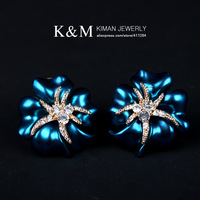 (Min order is $10) New Fashion Rhinestone Stud Earrings Unique Plant Model Design Jewelry for  Women EA-04140 Free Shipping