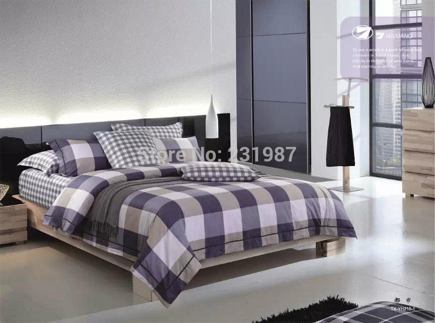 plaid mens bedding set queen size 100 cotton textiles bedroom set