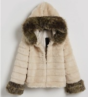 Free shipping 2013 autumn and winter women's rabbit fur plus cotton fur coat female short design overcoat outerwear