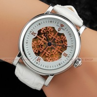 New Men Silver Case Rose Gold Hollow Lucky Clover Dial White Leather Automatic Mechanical Wrist Watch U377