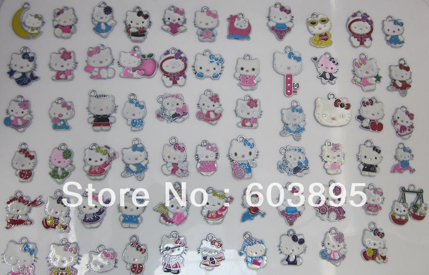 S598fgh5! Free Shipping 100Pcs/Lots Enamel MIXED hello kitty charms for key charm(China (Mainland))