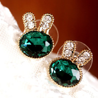 Korean version 2013 Fashion Jewelry hot sell Accessories green gem full rhinestone lovely little rabbit stud earring