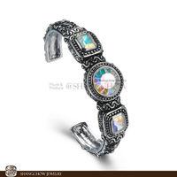 New! Stunning Fashion Jewelry 3 PCS Mystic Topaz 925 Sterling Silver Bangle B0031