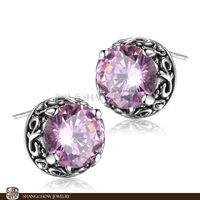 New! Stunning Fashion Jewelry  Pink Kunzite 925 Sterling Silver Earrings E0309