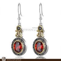 New! Stunning Fashion Jewelry  Garnet 925 Sterling Silver Earrings E0367