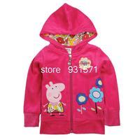 New arrival 2013 children's clothing children's velboa jacket peppa pig Plush cloth coat girls thick winter coat clothing  4356