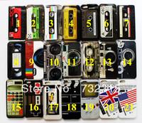 21Designs Retro Cassete Audio Tape UK US Flag Game Calculator Hard IMD Plastic Back Cover for Apple iPhone 5 5G +Button Sticker
