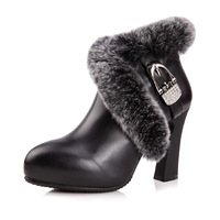 Boots first layer of cowhide autumn and winter high-heeled platform boots female luxury rabbit fur boots dx68-a2