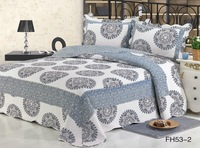 endless pattern 3 pieces beige with grey printed  summer bedspreads