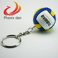 Ball Key Chains 10pcs/lot mixed lot Smooth surface mini Plastic Blue key chain promotion volleyball key chain