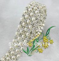 Free Shipping 4 Rows Clear Crystal Rhinestone Ribbon Diamond Pearl Wraps Sew 1Yard