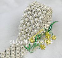 Free Shipping 1Yard 6 Rows Clear Crystal Rhinestone Ribbon Diamond Pearl Wraps Sew