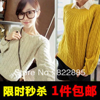Fashion women's 2013 basic sweater pullover short design loose sweater vintage twisted