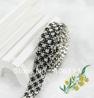 Wholesale  3 Rows Clear Crystal Rhinestone Ribbon Diamond Black Pearl Wraps Sew 1Yard