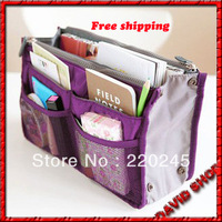 2013 Hot Sales The Latest And Fashion Multi-function women handbag Double Zipper makeup bag Nylon Cosmetic Bags,Free Shipping.