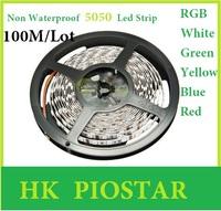 100M/Reel Non-Waterproof 12V 5050 60LED/M LED Strip light / lighting LED Flexible Strip Ribbon Red Blue Green Yellow White RGB