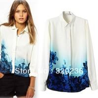 Free shipping! Woman Blusas  2014  Girls Turn Down Collar Gradient print Casual Chiffon Shirts  Ladies Womens Fashion blouse