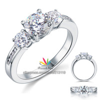 3 Stone Created Diamond Solid Sterling 925 Silver Wedding / Christmas Present Gift Ring CFR8065