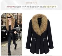 Hot free shipping large size women's 2014 winter new long sections fur  coat woolen coat female women's Outerwear L-6XL