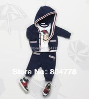 Fashion Boy Clothing Sets Children 3pcs Tracksuit Sets Long sleeve Hoodie Coat+Shortsleeve Tee shirt+Pant 3sets/lot